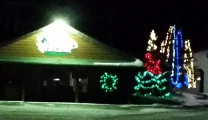 northwoods diner xmas lights in march
